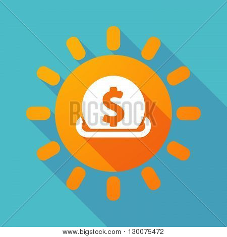 Long Shadow Sun With  A Dollar Coin Entering In A Moneybox