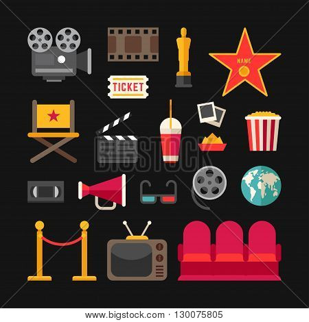 Cinema Concept. Cinema Industry Symbols. Set of Flat Style Vector Icons and Illustrations. Movie Projector Popcorn Oscar 3D Glasses Movie Theater