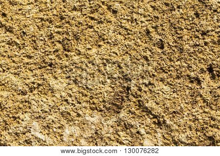 The texture of the stone wall of the porous surface horizontal shot