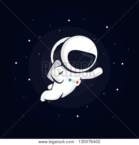 astronaut in space among the stars on a dark background. vector illustration with starry background.