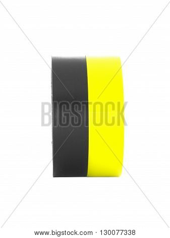 Repairing black, yellow insulation tape rolls, isolated on white background