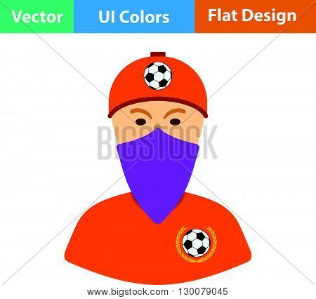 Football Fan With Covered  Face By Scarf Icon.