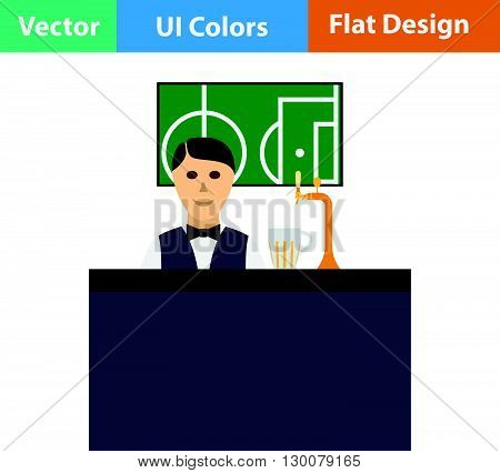 Sport Bar Stand With Barman Icon