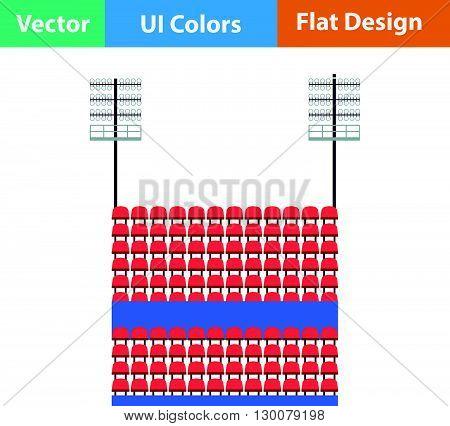 Stadium Tribune With Seats And Light Mast Icon.