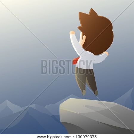 businessman hike on the peak of rocks mountain at sunset successwinner illustration