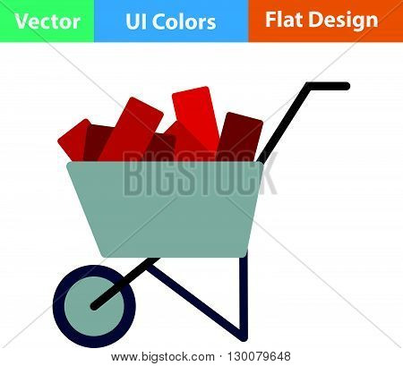 Flat Design Icon Of Construction Cart