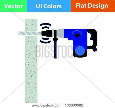 Flat Design Icon Of Perforator Drilling Wall