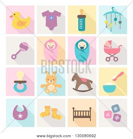 Collection of baby icons - kids, toys, accessories. Modern, flat design style.