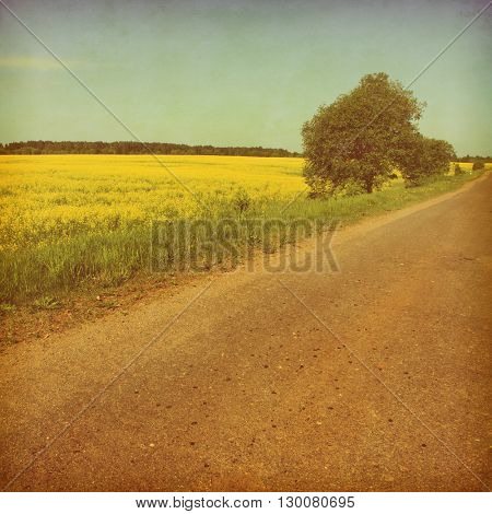 Summer landscape with empty asphalt road. Grunge and retro style.