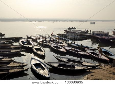 Old Boats on Ganga river Varanasi India.