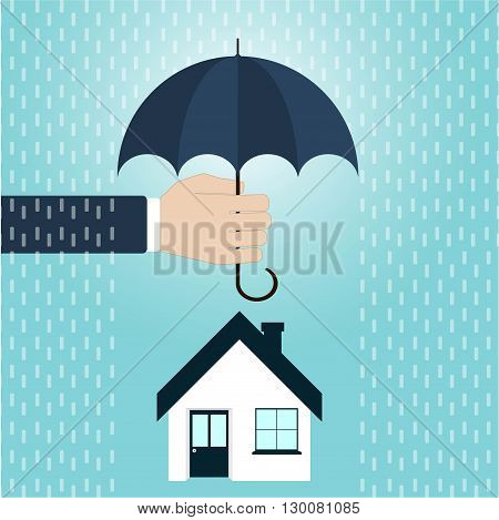 House insuronce agent's hand holding umbrella over house. Vector illustration