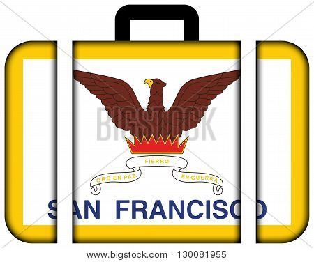 Flag Of San Francisco, California. Suitcase Icon, Travel And Transportation Concept