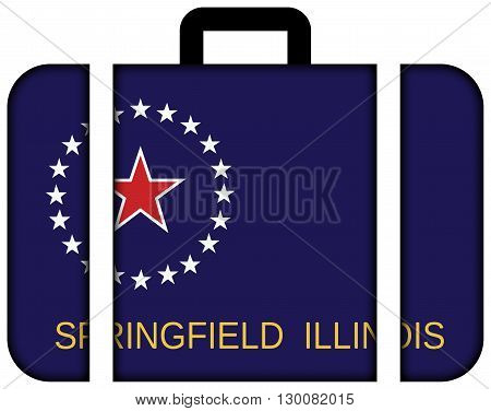 Flag Of Springfield, Illinois. Suitcase Icon, Travel And Transportation Concept