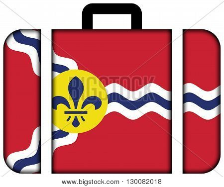 Flag Of St. Louis, Missouri. Suitcase Icon, Travel And Transportation Concept