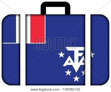 Flag Of The French Southern And Antarctic Lands. Suitcase Icon, Travel And Transportation Concept