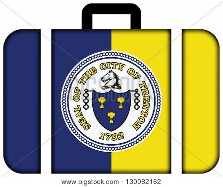 Flag Of Trenton, New Jersey. Suitcase Icon, Travel And Transportation Concept