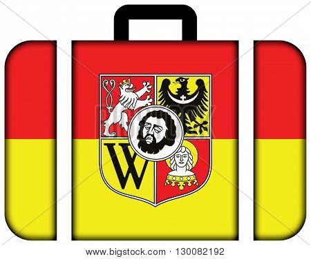 Flag Of Wroclaw With Coat Of Arms, Poland. Suitcase Icon, Travel And Transportation Concept