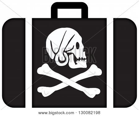 Henry Every Pirate Flag. Suitcase Icon, Travel And Transportation Concept