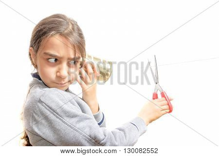 incommunicability: a child who does not want to keep listening to size with scissors communication
