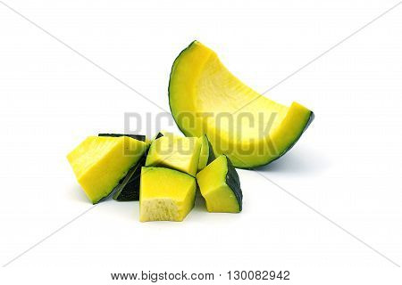 Sliced raw yellow pumpkin on white background. Sliced yellow pumpkin for use as cooking ingredients