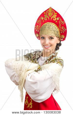 beautiful smiling caucasian girl in russian folk costume