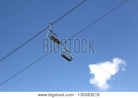 cable car for skiers in the sky