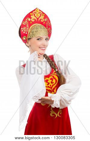 beautiful smiling caucasian girl in russian folk costume isolated on white