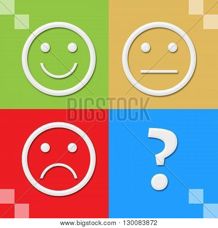 Smile sad neutral expression symbols over colorful background.