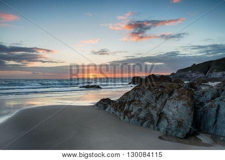Sunset At Freathy Beach