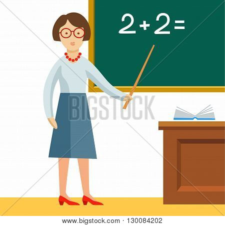 The teacher shows on the Board a math problem. Color, flat image on a white background.