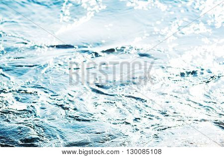 Abstract blue water sea for background / sea wave close up