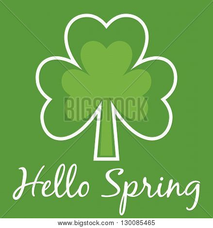 Hello Spring Shamrock card. Four leaf clover. Abstract tree card. Modern simple card. Design for postcards posters prints etc.