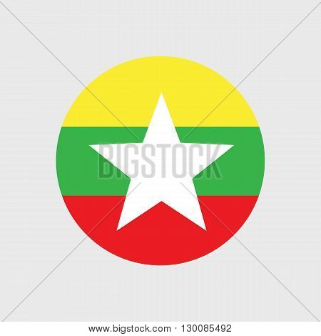 Set of vector icons with Burma flag