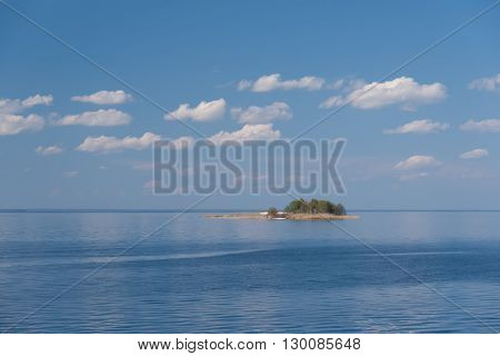 Beautiful view of blue sea and lonely island.