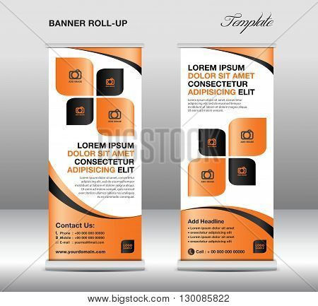 Roll up banner stand template stand design banner template Orange banner advertisement