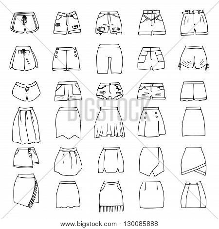 Hand drawn vector clothing set. 30 models of trendy shorts and skirts.