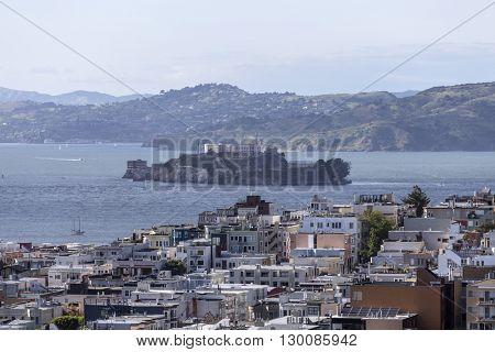 San Francisco Bay, Alcatraz island and the North Beach neighborhood near downtown.
