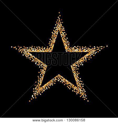 Golden Glitter Frame in the Form of Star on Black Background