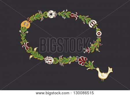 Traditional hand-drawn frame with floral decorative elements and dove