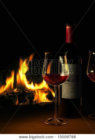 red wine at the fire place