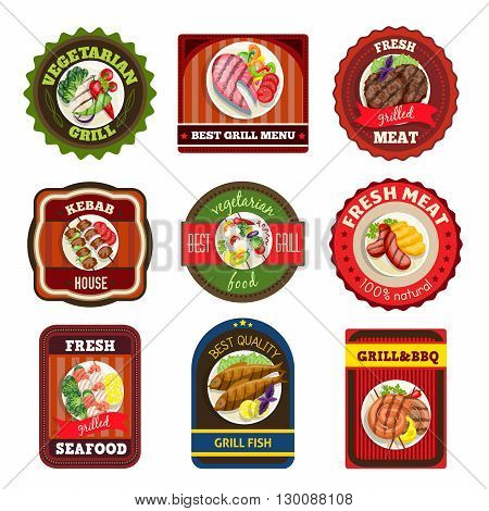 Grill dishes emblems kebab house vegetarian meal fresh seafood meat bbq vector illustration