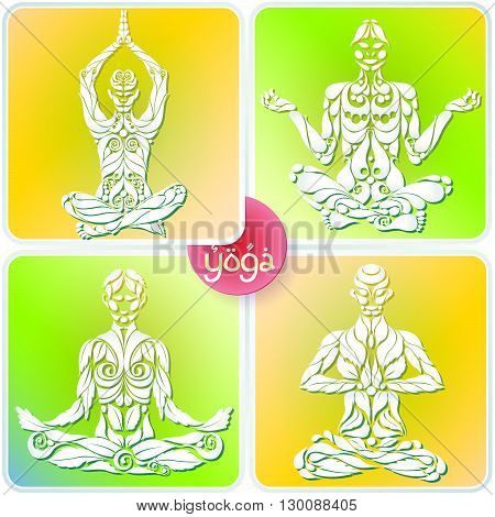 4 Yoga man in the lotus position in the form of the original organic plant vector logo design template. Healthy natural lifestyle Logo Icon Concept. Elite Life Yoga.
