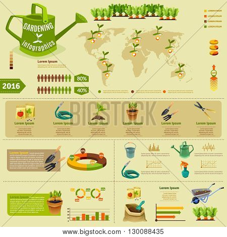 Gardening infographic layout with zoning of seedlings information garden tools presentation and statistics of using fertilizer flat vector illustration