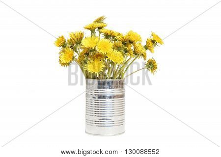 Yellow Dandelions In A Tin