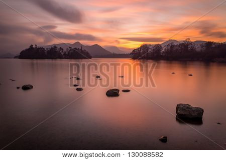 Image of a sunset over Derwentwater , Keswick in the English Lake District