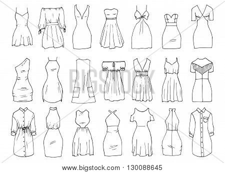 Hand drawn vector clothing set. 21 models of trendy mini dresses.