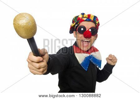 Clown with microphone isolated on white