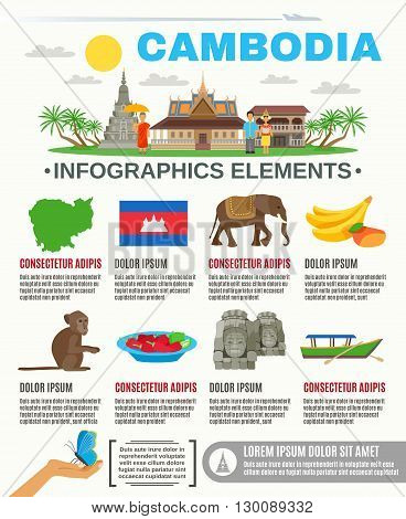 Cambodian culture food and sightseeing attractions information for tourists flat poster with infographic elements abstract vector illustration
