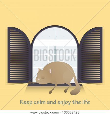 Motivational greeting card. Keep calm and enjoy the life. Cute fat cat. Vector illustration.