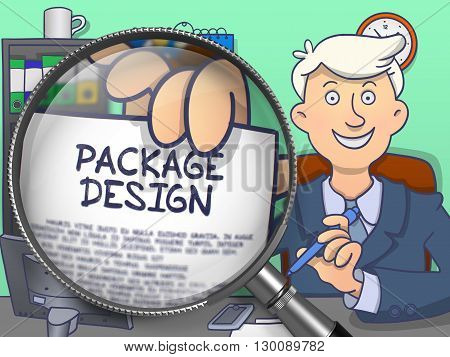Package Design on Paper in Businessman's Hand through Magnifying Glass to Illustrate a Business Concept. Colored Modern Line Illustration in Doodle Style.